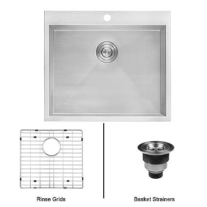 Ruvati Topmount Laundry Utility Sink 25u0026quot; X 22u0026quot; X 12u0026quot; Deep 16  Gauge