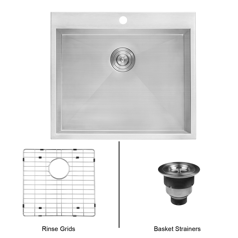 Ruvati Topmount Laundry Utility Sink 25'' x 22'' x 12'' Deep 16 Gauge Stainless Steel - RVU6010