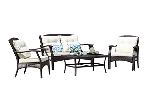 SUNTONE Outdoor Furniture 4 Piece Conversation Set- All Weather PE Rattan Wicker Patio Furniture Set, Beige Cushions, 2 Throw Pillows 2018 New, Brown