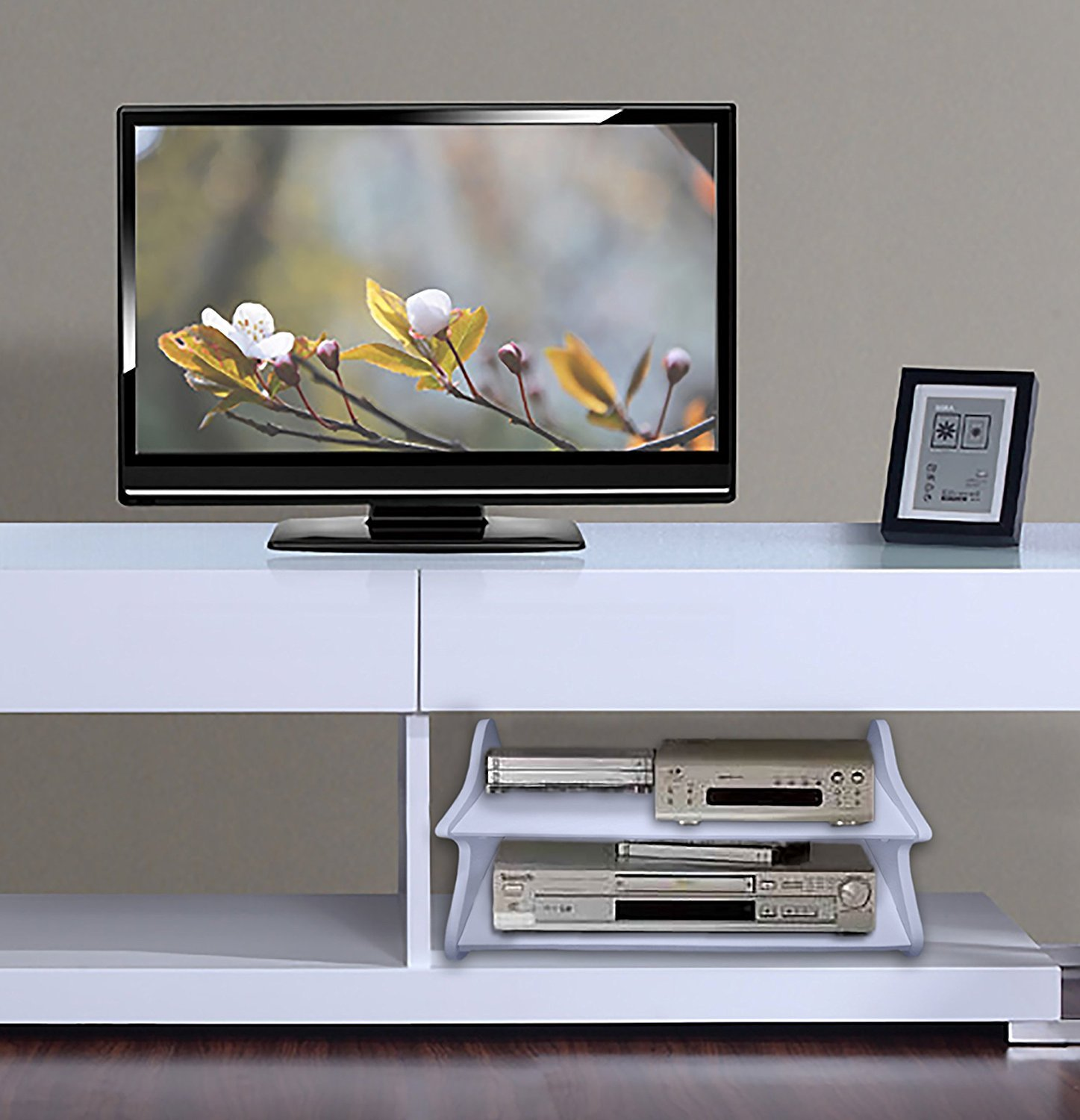 Amazon.com: Floating Wall shelf 2 tier with holes for wiring for DVD ...