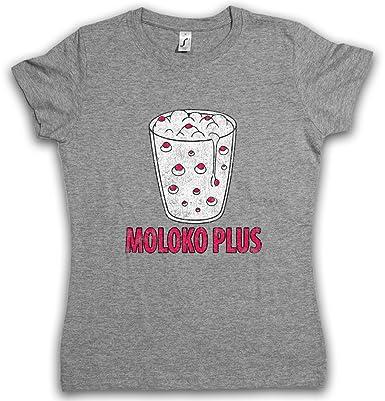 MOLOKO PLUS Damen T-Shirt – Clockwork Uhrwerk Milch Alex Alexander Orange  DeLarge Milk Korova