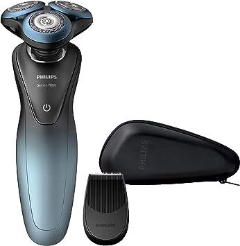 Philips S79 Shaver Series 7000-Afeitadora (Máquina de Afeitar de rotación, GentlePrecision Blades, 10 m, GroomTribe, SH70, 2 año(s), Acero, Negro, Azul: Amazon.es: Salud y cuidado personal