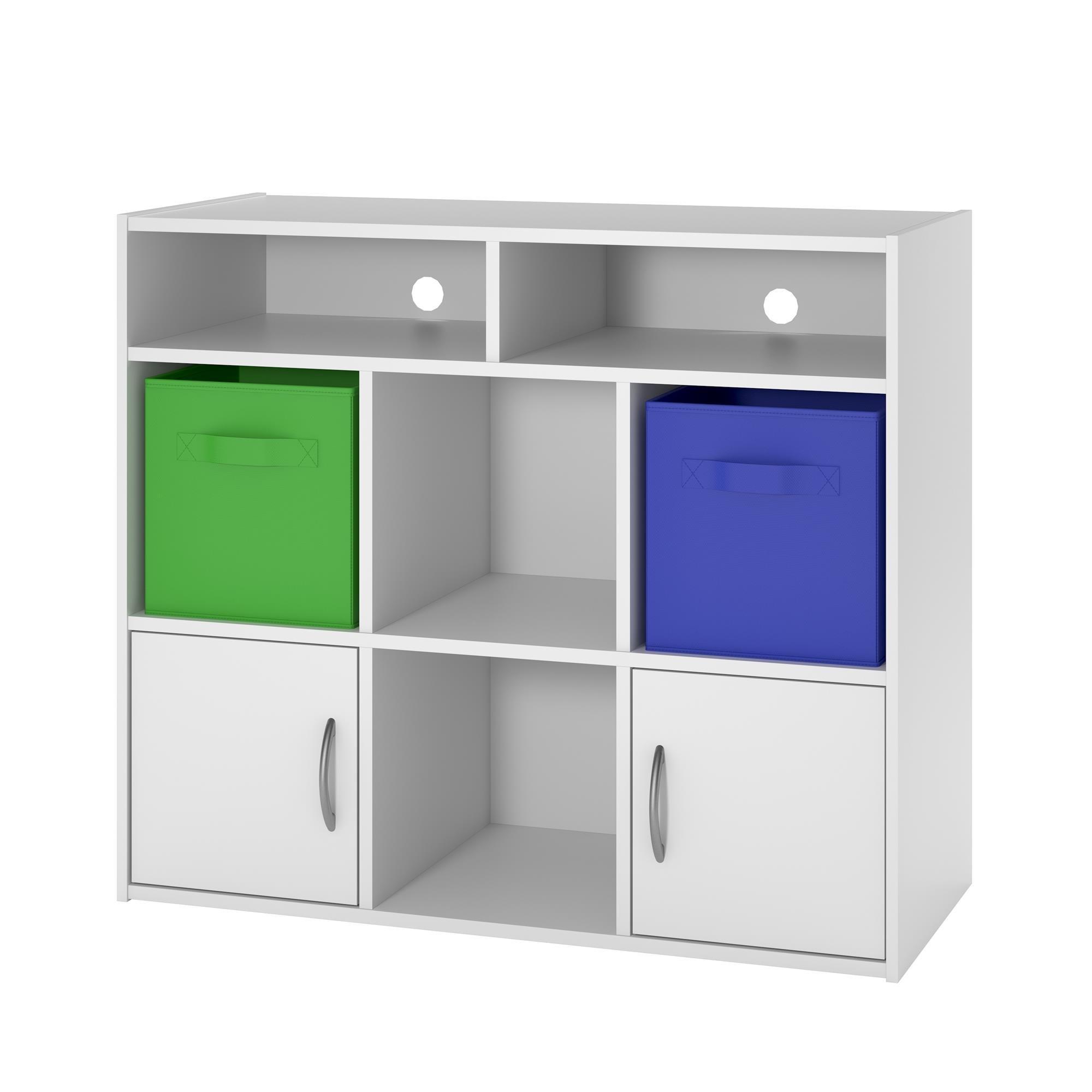 Cosco Lucerne Media Dresser with Fabric Bins, White