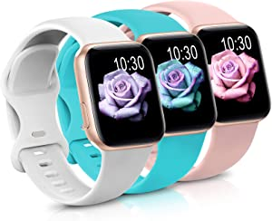 Sport Band Compatible with Apple Watch iWatch Bands 38mm 40mm 42mm 44mm,Soft Silicone Strap Wristbands for Apple Watch Series 3 6 5 4 2 1 SE Women Men Pack 3,Pink Sand/Teal/White,38/40mm,M/L
