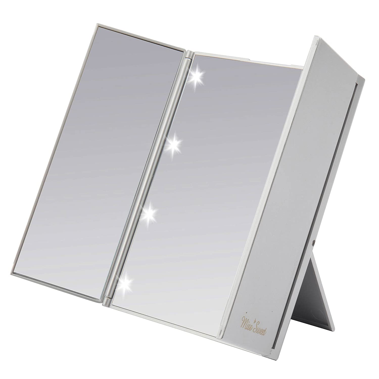 Miss Sweet LED Tri-fold Mirror Makeup Mirror Travel Mirror Compact for Beauty Makeup (Silver)