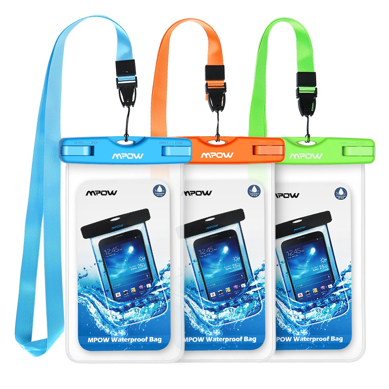 "Mpow 024 Waterproof Case, Universal Waterproof Phone Pouch Underwater IPX8 Dry Bag Compatible iPhone 11/11 Pro Max/Xs Max/XS/XR/X/8P/7P, Galaxy S10/S9, Google Pixel/HTC up to 6.5"" (Blue Orange Green)"