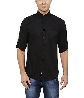 4e0b90b534 Nick & Jess Mens Black Mandarin Collared Cotton Lycra Slim Fit Shirt