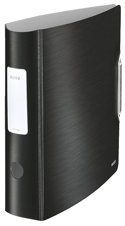 Leitz 11080094, Archivador de Palanca, A4, Lomo curvado de 82 mm de ancho, Cierre con Goma Elástica, Polyfoam ligero, Gama Style, Negro Satinado
