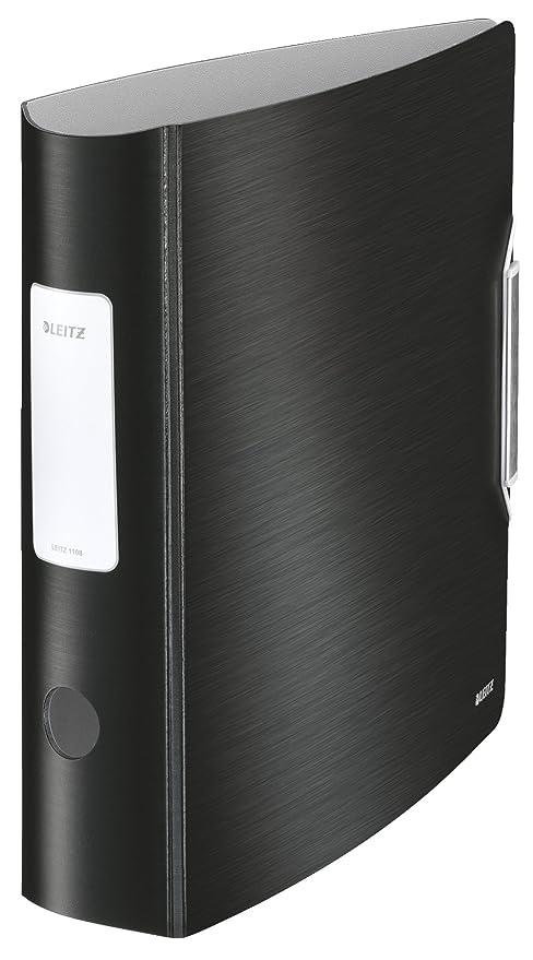 Leitz, Archivador de Palanca, Negro Satinado, A4, Lomo curvado de 8 cm