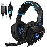 [Gaming Headset für PS4] LIHAO Sades L9 Gaming Kopfhörer PC Stereo mit Mikrofon USB für LED Schwarz+Blau