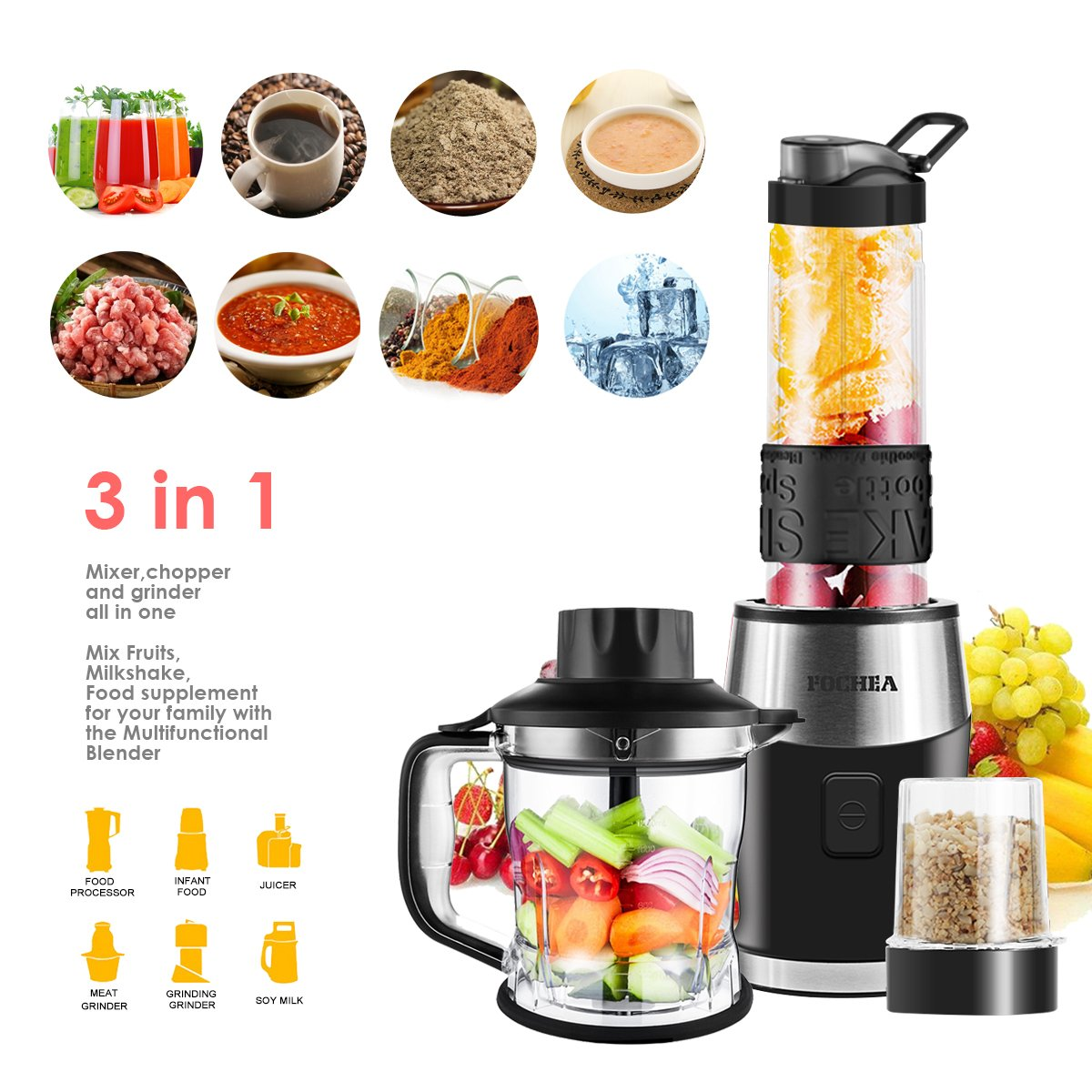 Smoothie Blender, Fochea 3 In 1 Food Processor Multi-Function Kitchen Mixer System, 700W High Speed Blender Chopper Grinder with 570ml BPA-Free bottle, Easy to Clean