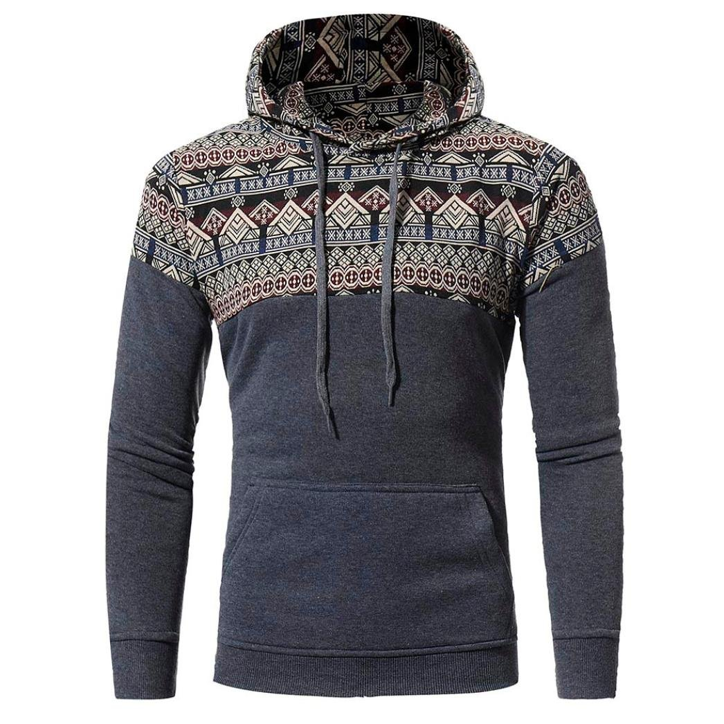 HTHJSCO Hoodie Jacket Coat, Men Retro Long Sleeve Hoodie Hooded Sweatshirt Tops Jacket Coat Outwear (Dark Gray, L)