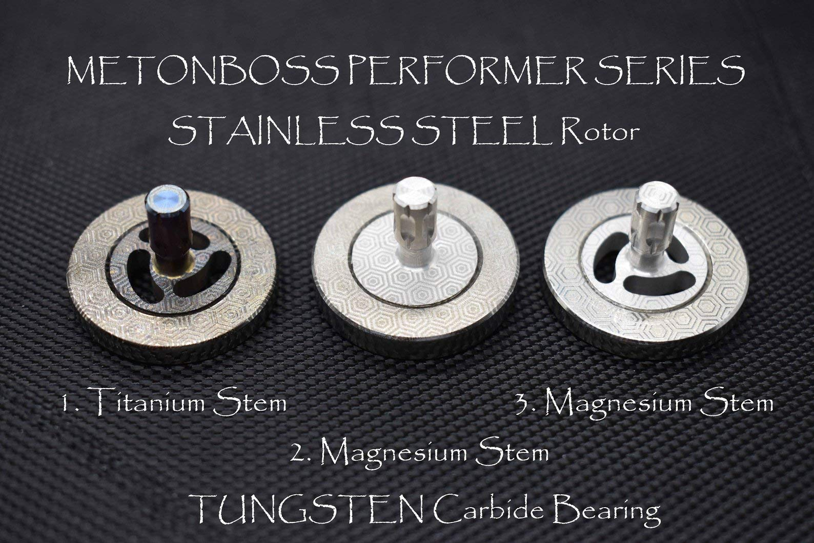 MetonBoss Stainless Steel Performer Spinning Top with Tungsten Carbide Bearing Ball & Precision Milled Titanium stem | Gift for him EDC (1. Stainless Steel - Magnesium Stem)