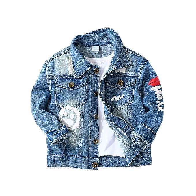 899704dee LAPLBEKE Cazadora Vaquera para Niñas Jeans Larga Chaqueta De Mezclilla Niños  Rasgado Estampado Camisetas: Amazon.es: Ropa y accesorios