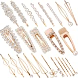 SIQUK 24 Pcs Hair Clips Pearl Barrettes Clips Artificial Pearl Hair Barrettes Gold Hairpins for Women and Girls Bridal Hair Decoration