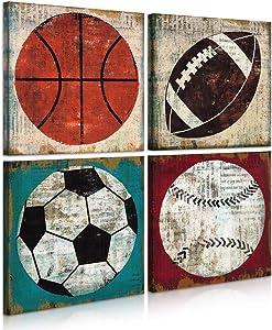 FUNHUA Natural Art Basketball Soccer Football Sports Themed Canvas Prints for Boys Room Baby Nursery Wall Decor Boys Gift