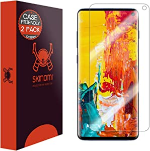 "Skinomi TechSkin [2-Pack] (Case Compatible) Clear Screen Protector for Samsung Galaxy S10 6.1"" [Will NOT Work w/Verizon Galaxy S10 5G 6.7""] Anti-Bubble HD TPU Film"