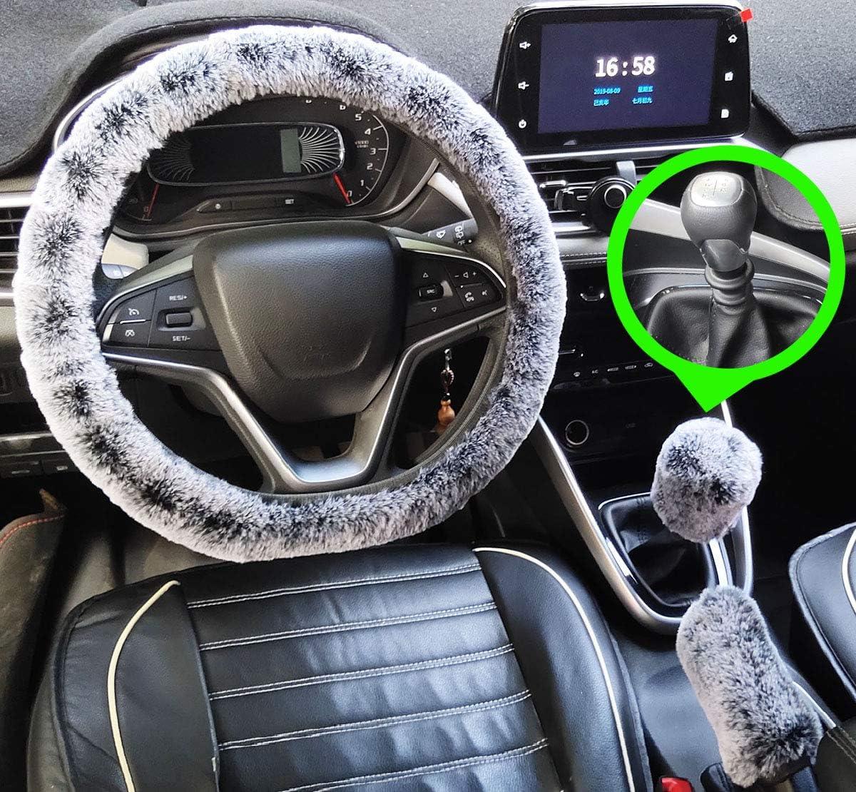 3Pcs Set Winter Fashion Faux Wool Steering Wheel Cover/&Handbrake Cover/&Gear Shift Cover Set Universal Furry Warm Plush car Interior Manual, rainbow