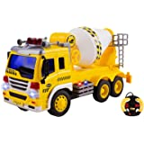 Remote Control Cement Truck RC Truck 1:16 Four Channel Full Function w/ Lights Battery Powered RC Truck Toy