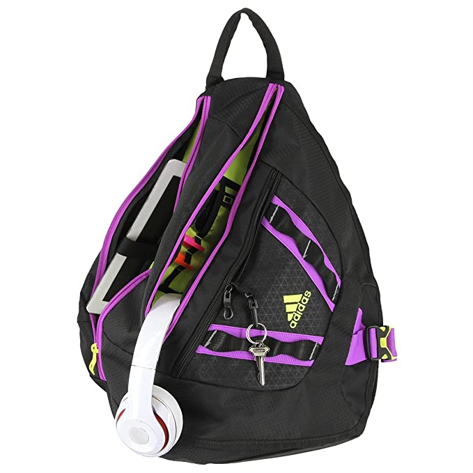 adidas Capital Sling Backpack, Black Solar Yellow Flash Pink, One Size   Amazon.co.uk  Shoes   Bags d6f7759bae
