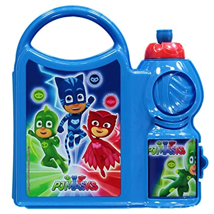 character PJ Masks Sandwich Box Rectangular with Handle and Water Bottle Plastic 2 pcs Set SD