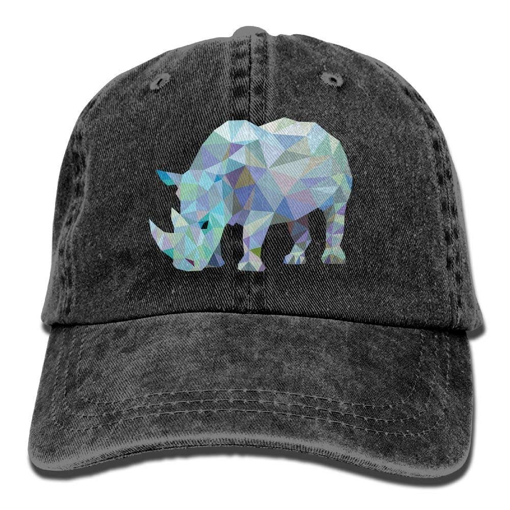 JTRVW Cowboy Hats Rhinoceros Denim Baseball Caps Hat Adjustable Cotton Sport Strap Cap for Men Women