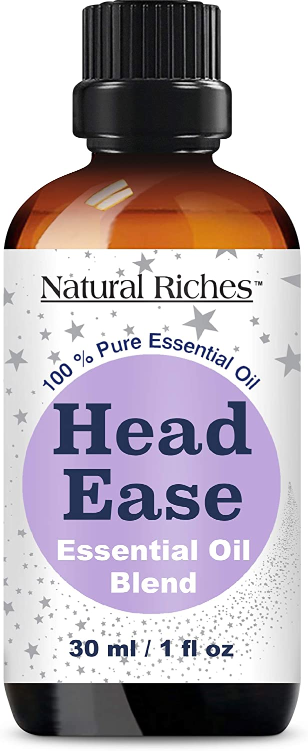 Natural Riches Migraine & Headache Pain Relief Essential Oil Blend for Head Ease Aromatherapy - Lavender, Peppermint, Rosemary, Wintergreen, Marjoram and Frankincense - 30ml