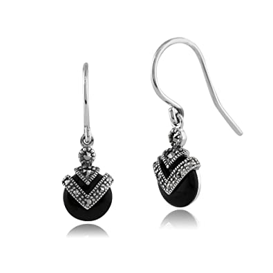 Gemondo 925 Sterling Silver 2.00ct Black Onyx & 0.13ct Marcasite Art Deco Round Drop Earrings