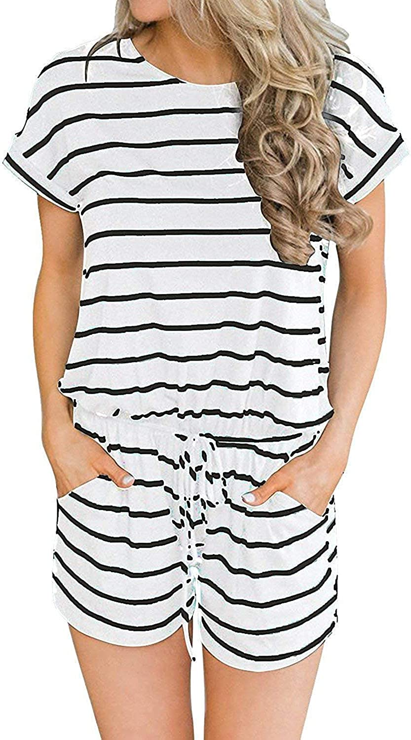 Smile Fish Womens Summer Casual Loose Jumpsuit Striped Elastic Waist with Pocket Playsuit