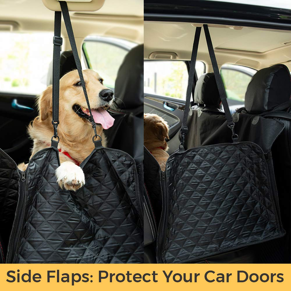 2-pack Machine Washable Luxury Quilted Design with Seat Belts Black and Carry Bag Thunderpaws Premium Pet Car Seat Cover Waterproof Heavy-Duty Material with Side Flaps