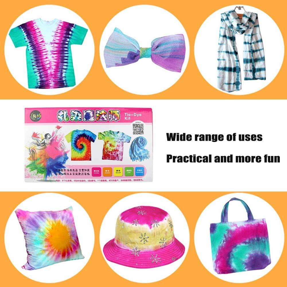 gshhd0 Kit Tie-Dye De Un Solo Paso,Tela Vibrante Art Deco para Ni/ñOs Adultos Kit De Tinte con Guantes Y Ropa De Bricolaje