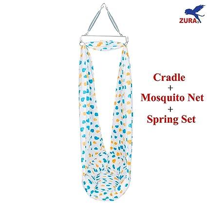 29de2fadbf00 Buy Zura Zura Baby Cradle With Mosquito Net And Spring Set - Blue ...