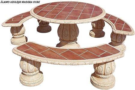 Conjunto Mesa Comedor Jardin DE Piedra Artificial con Fibra.Mesa Redonda + 3 Bancos .Alamo Ocre (Madera): Amazon.es: Hogar