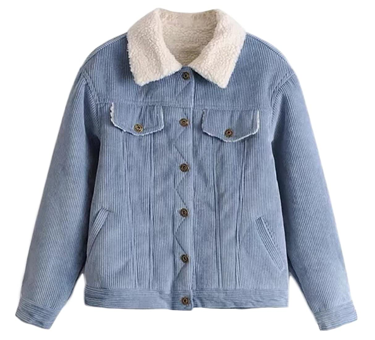KLJR-Women Vintage Corduroy Pocket Thickened Turn Down Collar Jacket