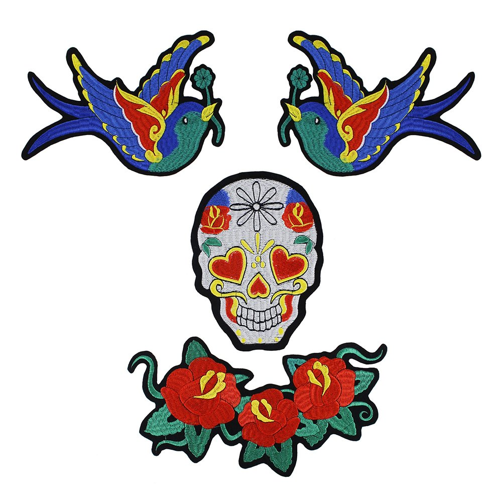 1set/4pc Embroidery Birds Flower Patches Skull Badge DIY Clothing Fabric Craft Sew On T-shirt Jean Sweater Applique Apparel Sewing Supplies TH997 Resources House