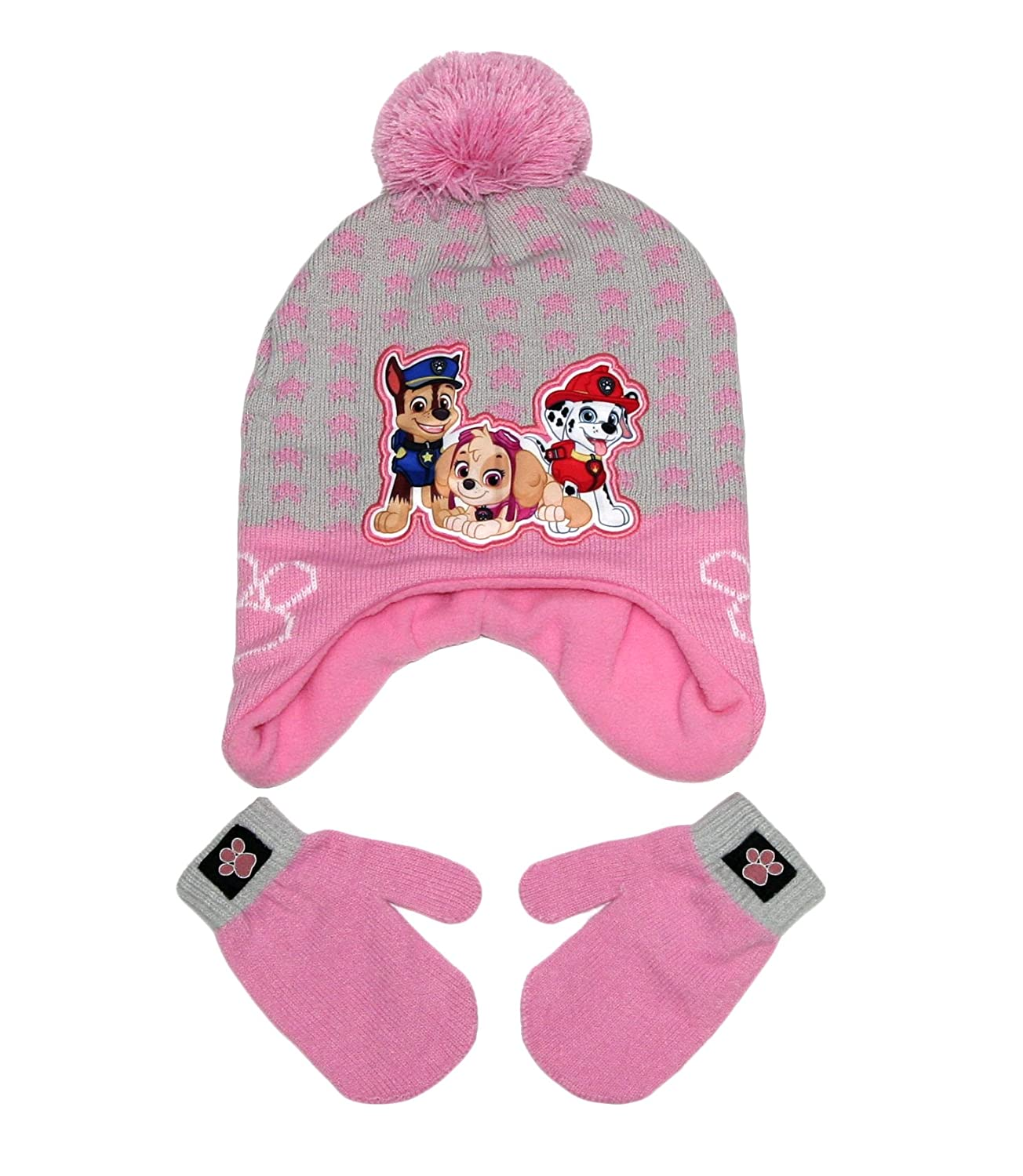 Nickelodeon Paw Patrol Boys Girls Beanie Hat and Mittens Set (Toddler)