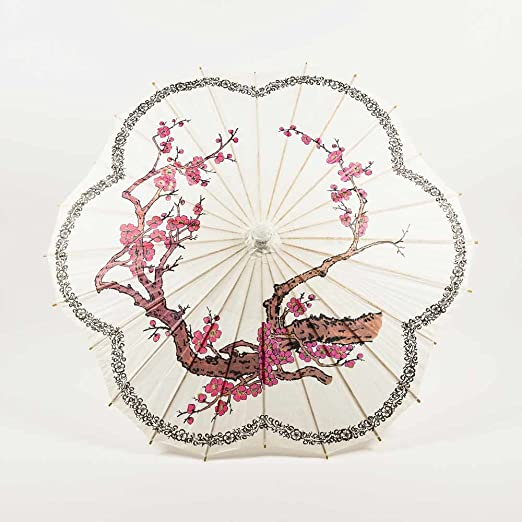 Make a Victorian Carriage Parasol PaperLanternStore.com 32 Cherry Blossom / Sakura w/ Black Ring Paper Parasol Umbrella Scallop Shaped $7.75 AT vintagedancer.com