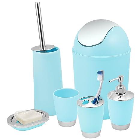 Kabalo Juego de 6 accesorios para baño con ducha azul baño - contenedor, dispensador de