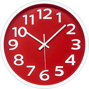 12 Inch Modern Wall Clock Silent Non-Ticking Battery Operated 3D Numbers Bright Color Dial Face Wall Clock for Home/Office Decor,Red