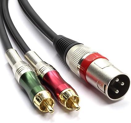 c/âble XLR adaptateur audio cable connecteur 1.5 m LoongGate 1 XLR /à 2 RCA m/âle fiche st/ér/éo Y Splitter XLR m/âle