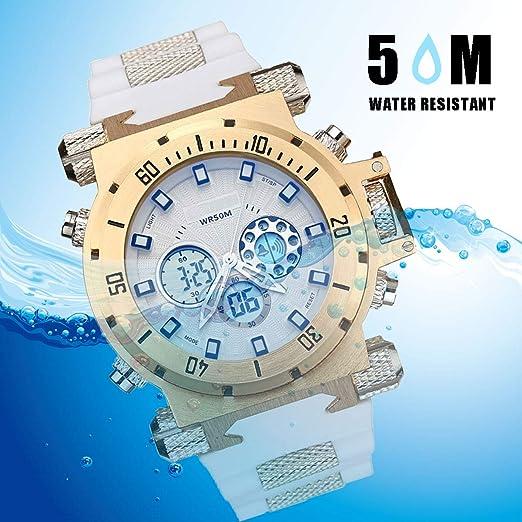 XIGG Reloj Digital Hombre Deportivo Relojes Sumergible Relojes de Pulsera Grande Analogico, Multifunción Alarma Cronómetro Calendario Waterproof Wrist Watch,Goldenwhite: Amazon.es: Jardín