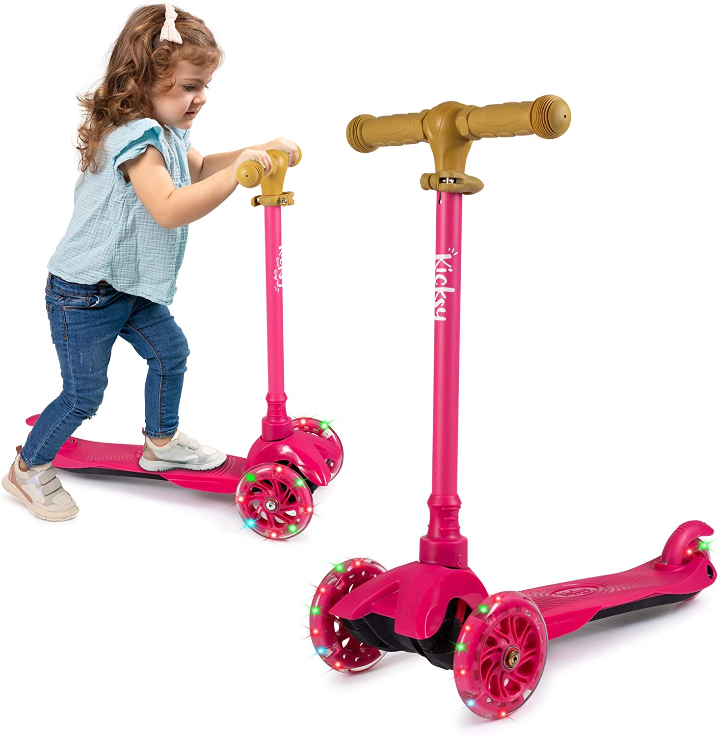 Three Heights /& Light Up Wheels KicksyWheels Scooters for Kids Toddlers and Kids Toys for 1 Year Old and Up 3 Wheel Toddler Scooter for Boys /& Girls