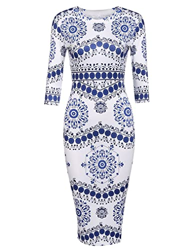 Locryz Women's Vintage 3/4 Sleeve Porcelain Print Bodycon Pencil Dress