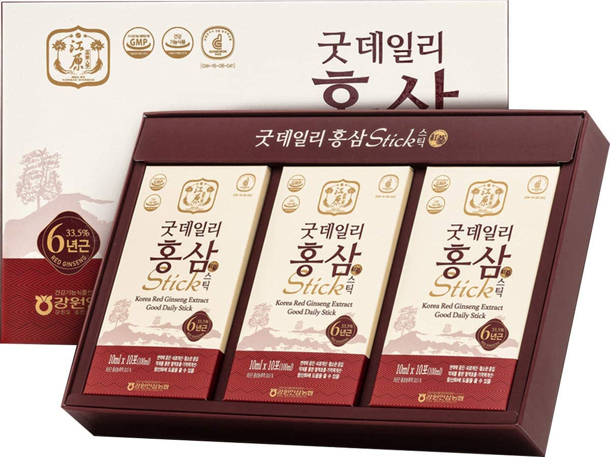 Gangwoninsam Korean Red Ginseng Extract Good Daily Stick 30 Count Contains 6 Year Korean Red Ginseng Extract, Healthy Korean Food, Individually Packaged, 0.35 fl. oz 10ml , 3 X 10-Count Box