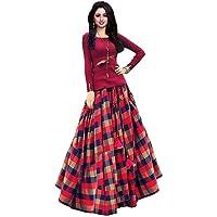 Bhakti Nandan Women's Bangalori Satin Long Skirt Gown And Top (Red_01_Red_ Free Size)