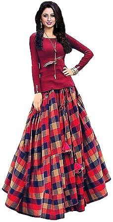 82f432d8cf BHAKTI NANDAN CREATION Women's Bangalori Satin Semi-stitched Long Skirt  Gown and Top (Red