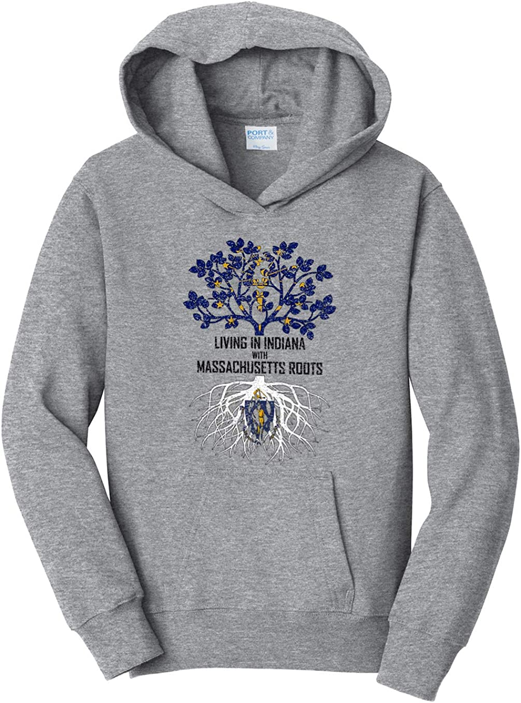 Tenacitee Girls Living in Indiana with Massachusetts Roots Hooded Sweatshirt