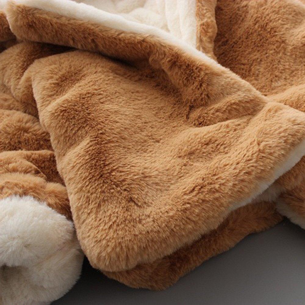 Sunenjoy B/éb/é Infantile Filles Automne Hiver Lapin Oreille Hooded Manteau Manteau Veste /Épais Peluche Chaud V/êtements /… 18-24 Mois, Rose