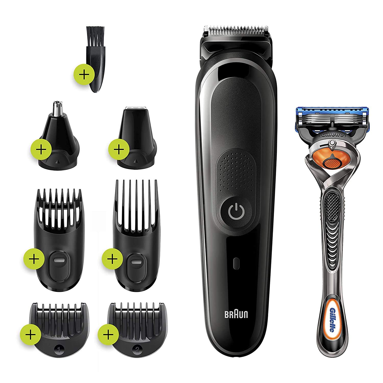 Braun Hair Clippers for Men MGK3260, 7-in-1 Beard Trimmer, Ear and Nose Hair Trimmer, Detail Trimmer, Cordless & Rechargeable, with Gillette ProGlide Razor