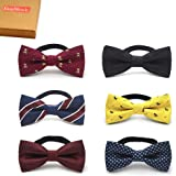 Elesa Miracle Baby Boy Gift Box with Pre-tied Adjustable Neck Strap Tie Boys Bow Tie Value Set, Set of 6